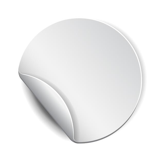 Blanco, witte ronde promotiesticker Premium Vector