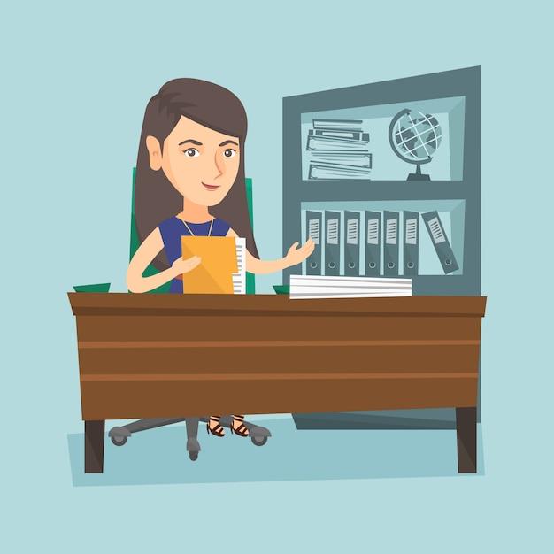 Blanke kantoormedewerker die met documenten werkt. Premium Vector