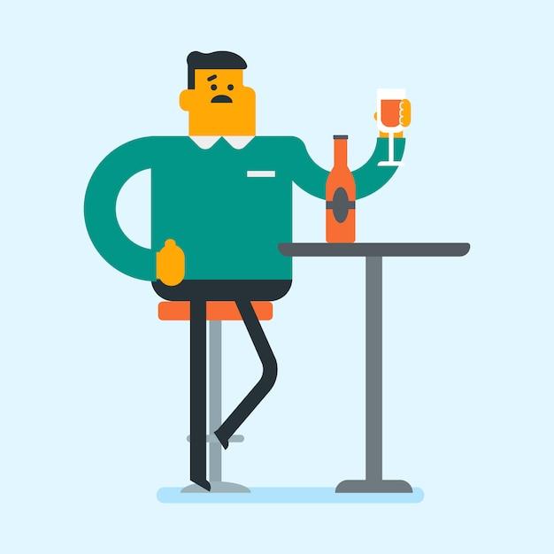Blanke man drinken een cocktail in de bar. Premium Vector