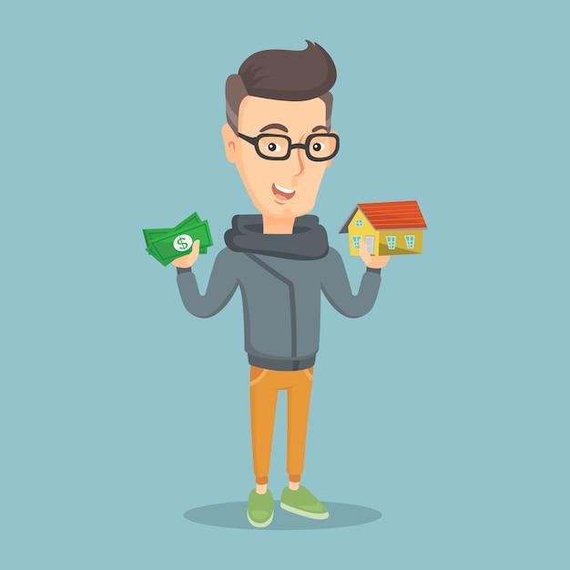 Blanke man huis kopen dankzij lening. Premium Vector