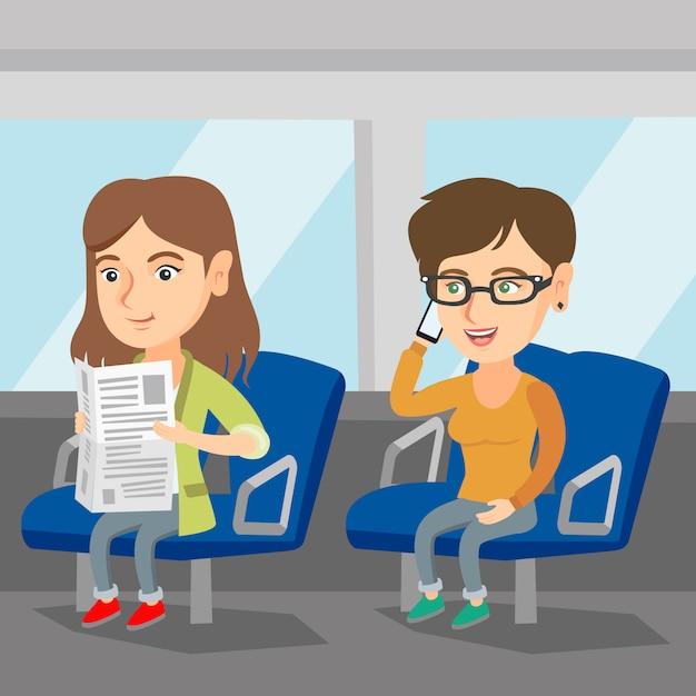 Blanke vrouwen die reizen met het openbaar vervoer. Premium Vector