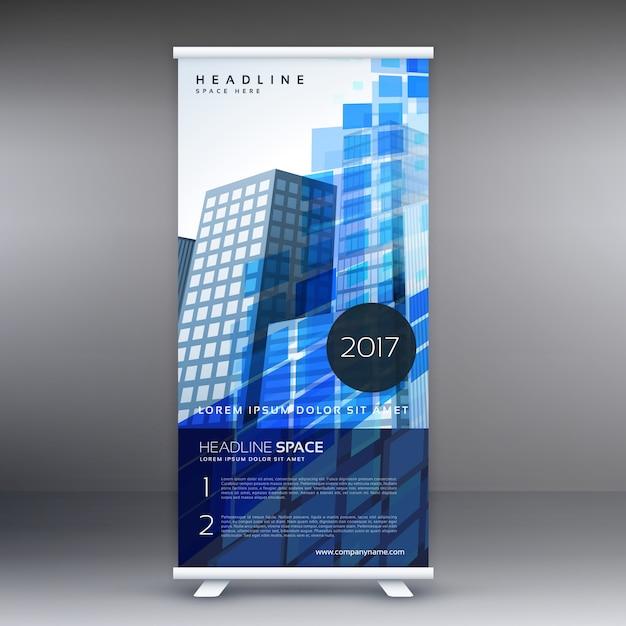 Blauw abstracte standee sjabloon ontwerp Gratis Vector