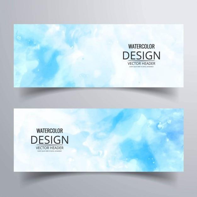 Blauw aquarel banners Gratis Vector