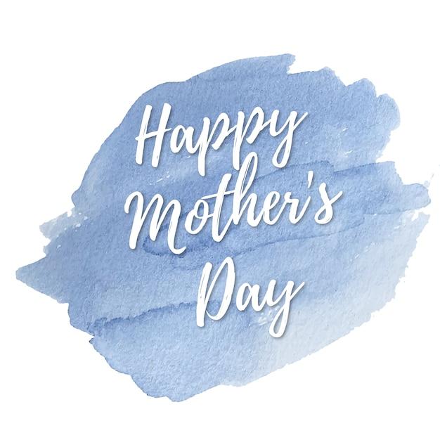 Blauw aquarel kaart voor de dag van moeders Gratis Vector