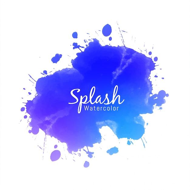 Blauw aquarel splash ontwerp Gratis Vector