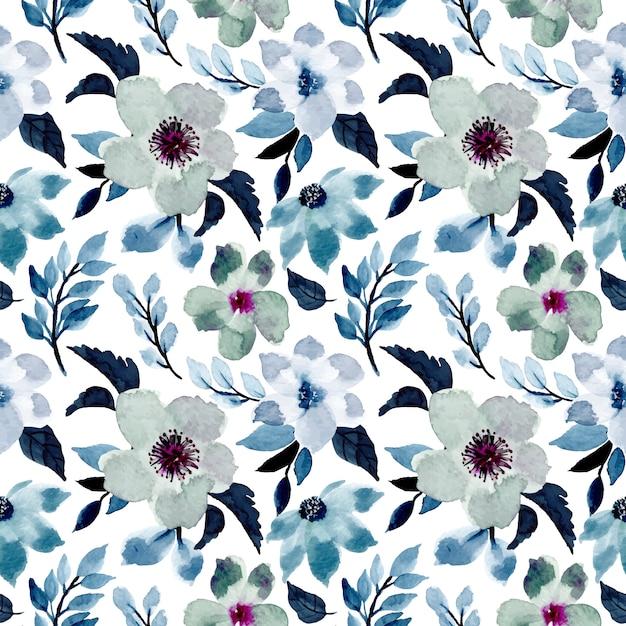 Blauw bloemen naadloos patroon met waterverf Premium Vector