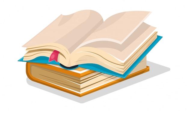 Blauw boek geopend met lege vellen en roze bladwijzer is op gesloten blauw een ander. Premium Vector