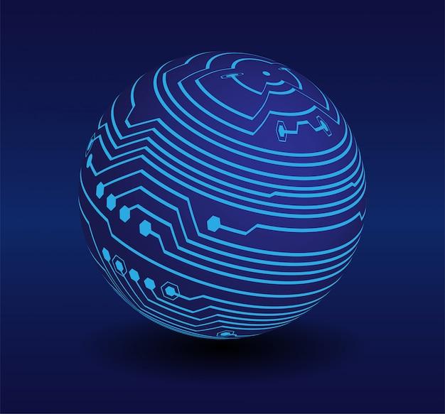 Blauw cyber wereld circuit toekomst technologie concept Premium Vector