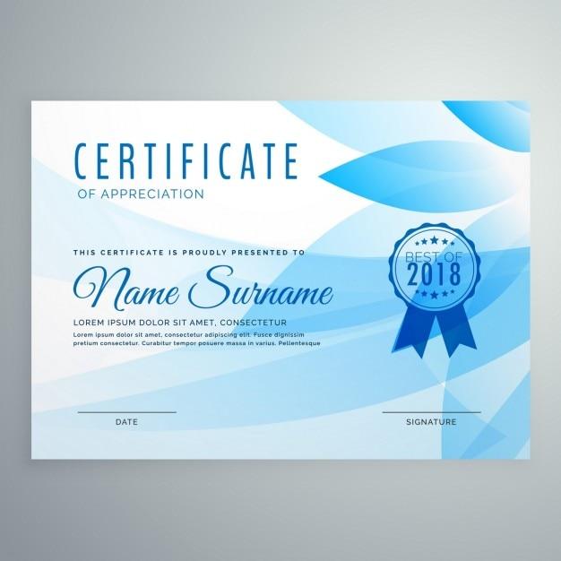Blauw diploma certificaat ontwerp Gratis Vector