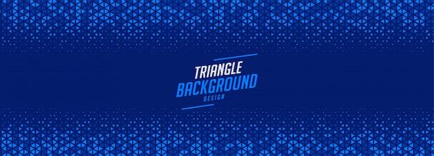 Blauw driehoek halftoonpatroon breed bannerontwerp Gratis Vector