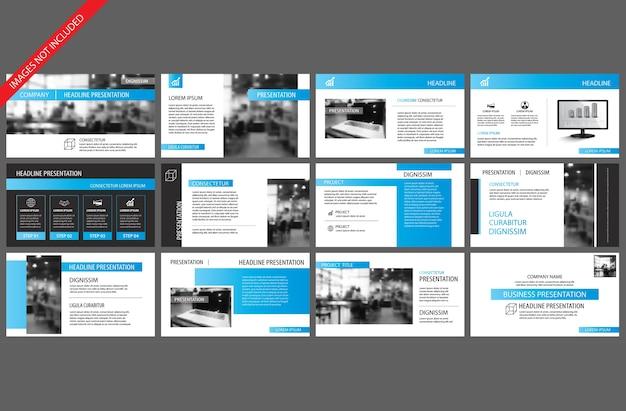 Blauw element voor diapresentatiesjabloon. Premium Vector