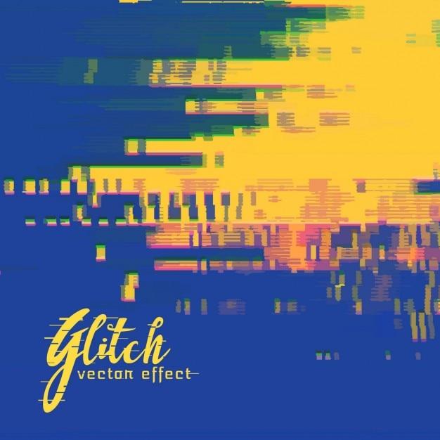 Blauw en geel abstracte achtergrond, glitch effect Gratis Vector