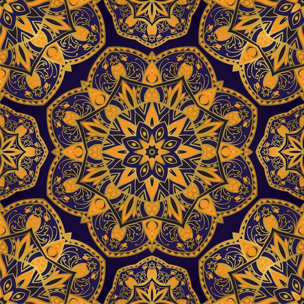 Blauw en geel patroon met mandala. Premium Vector