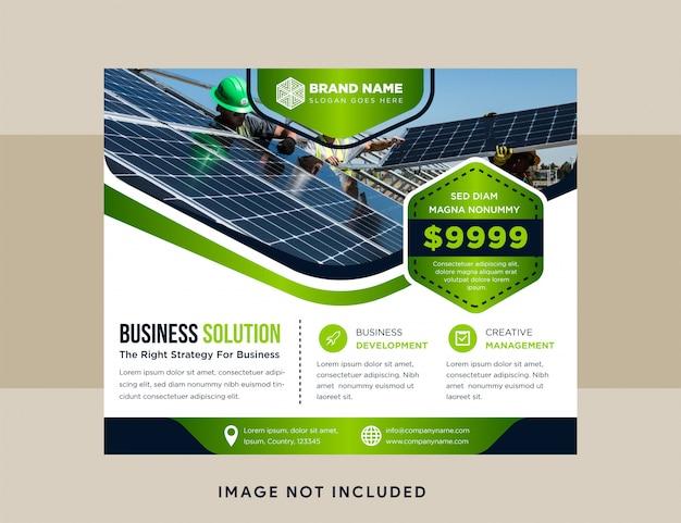 Blauw en groen flyer bedrijfsontwerp, reclameachtergrond, horizontaal modern lay-outsjabloon. zeshoekige ruimte voor foto Premium Vector