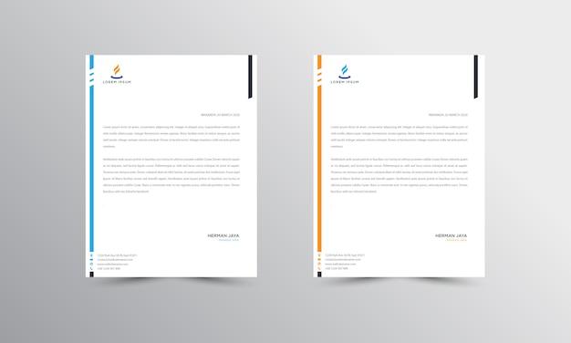 Blauw en oranje abtract-briefhoofdsjabloon Premium Vector