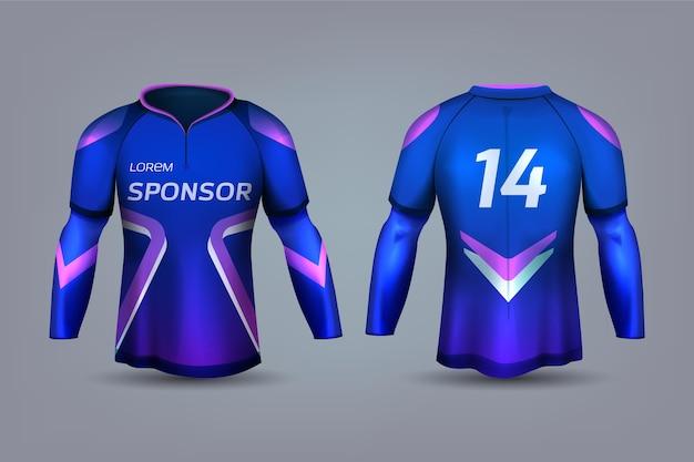 Blauw en violet voetbalshirt uniform Premium Vector
