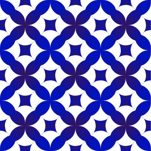 Blauw en wit indigo patroon Premium Vector