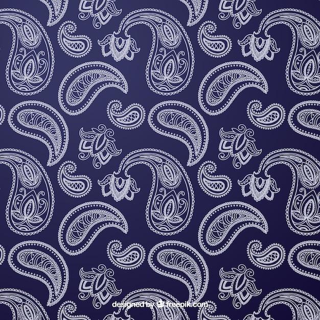 Blauw en wit patroon met decoratieve vormen Gratis Vector