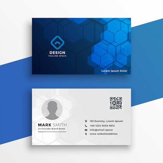 Blauw en wit technologie visitekaartje Gratis Vector