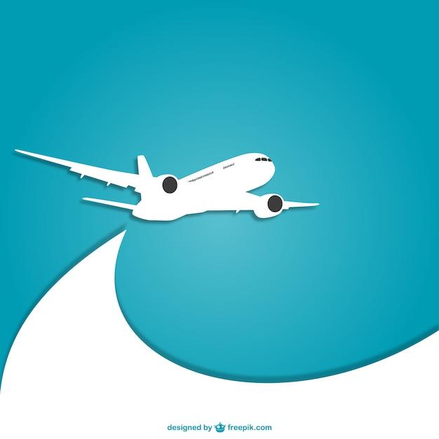 Blauw en wit vliegtuig vector Gratis Vector
