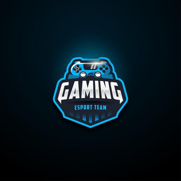 Blauw gaming e sport team logo Premium Vector