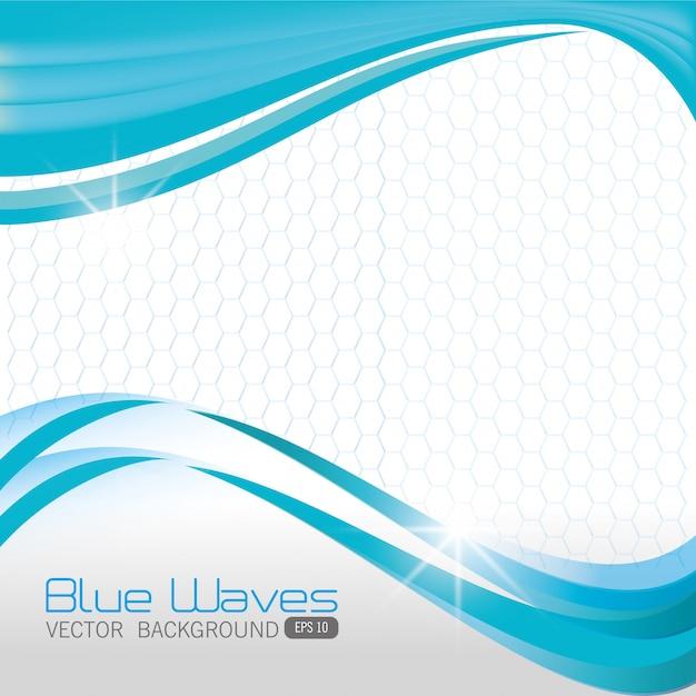 Blauw golvenontwerp. Gratis Vector