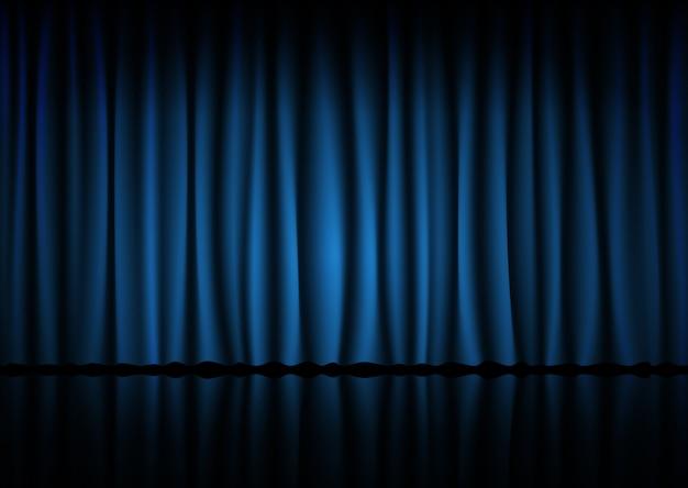 Blauw gordijn van de bioscoop, het theater of het operahuis Premium Vector