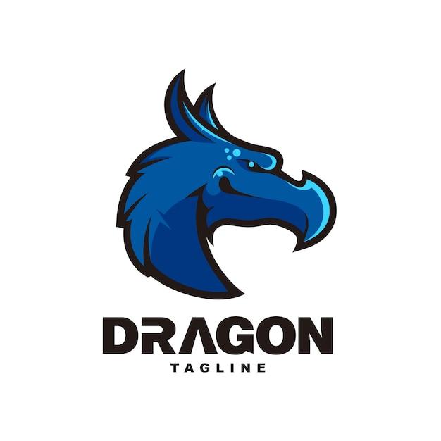 Blauw hoofd dragon mascotte ontwerp Premium Vector