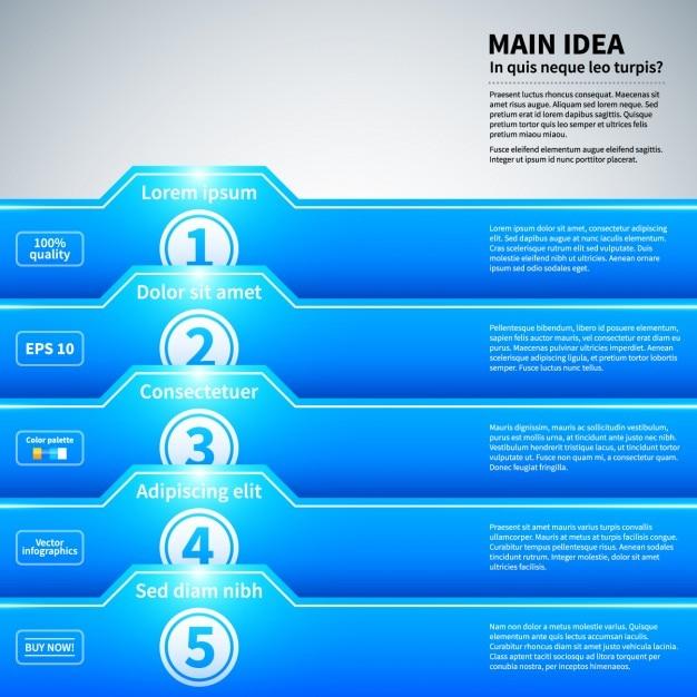 Blauw infographic met omslagen stijl en glanzende textuur Gratis Vector