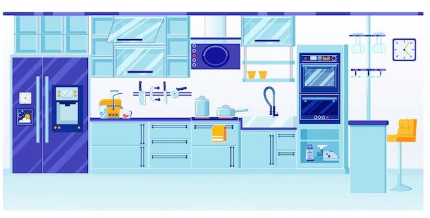 Blauw keukeninterieurontwerp met glanzend glas Premium Vector