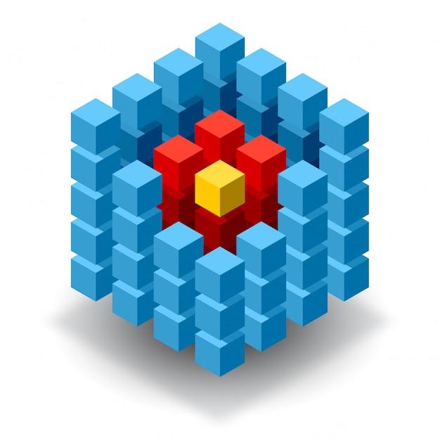 Blauw kubuslogo met rode segmenten Premium Vector