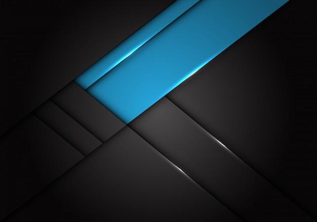 Blauw label overlapping op donkergrijze metallic achtergrond. Premium Vector
