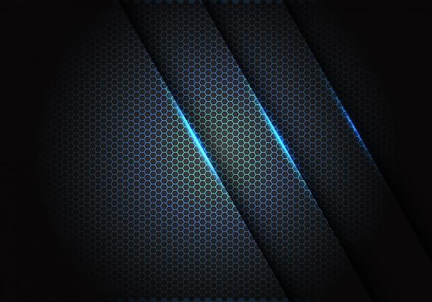 Blauw licht op hexagon netwerkpatroon op donkergrijze achtergrond. Premium Vector