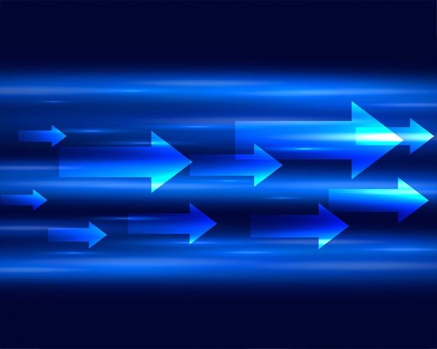 Blauw licht strook met pijlen vooruit achtergrond verplaatsen Gratis Vector