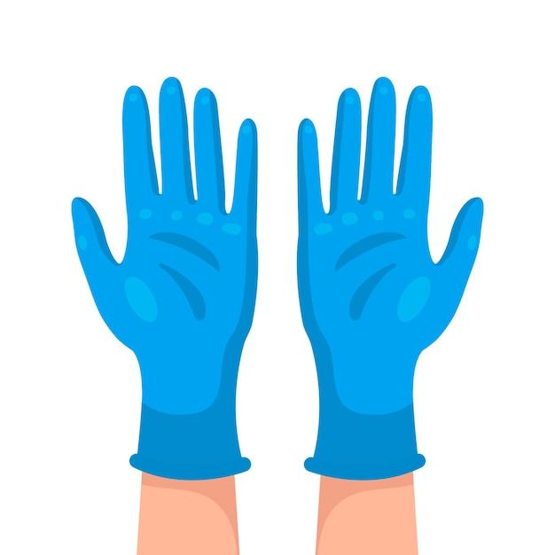 Blauw medisch handschoenenontwerp Gratis Vector