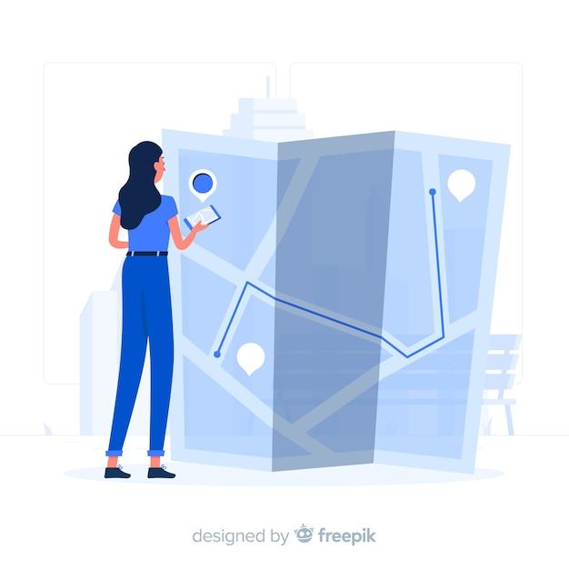 Blauw meisje dat een kaart vlakke stijl bekijkt Gratis Vector