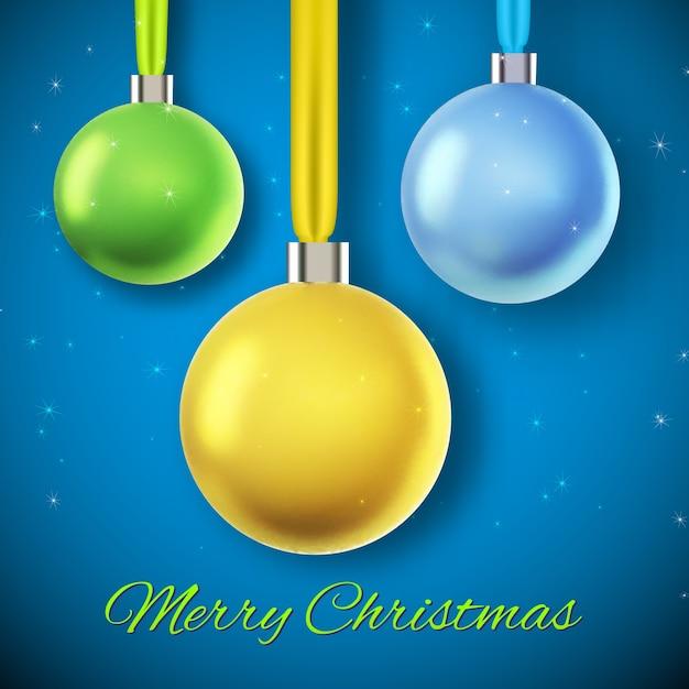 Blauw met drie hangende kleurrijke kerstballen vlakke afbeelding Gratis Vector