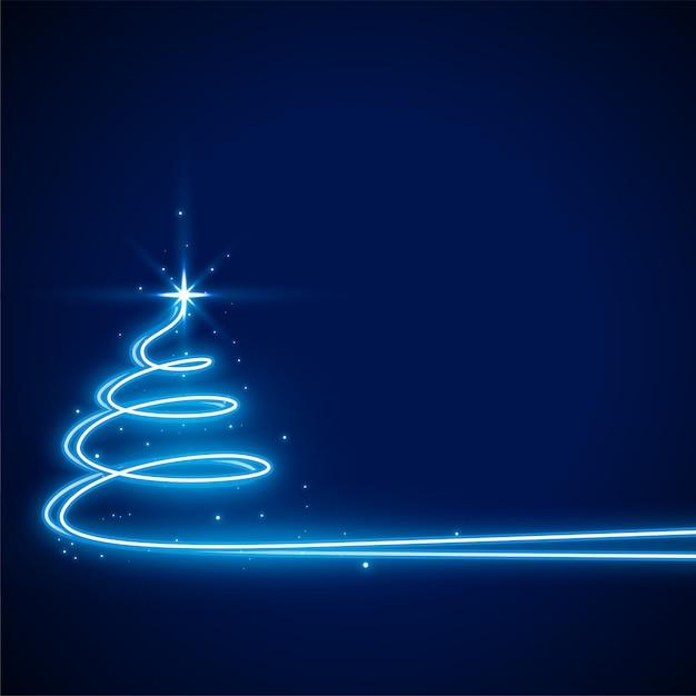 Blauw met neon kerstboom Gratis Vector