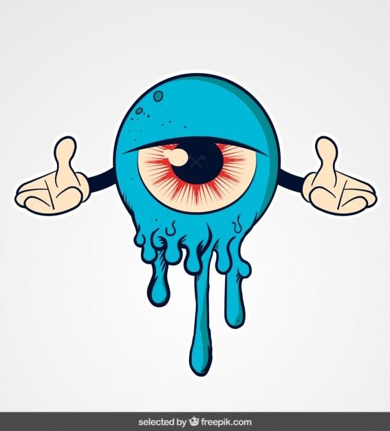 Blauw monster cartoon Gratis Vector