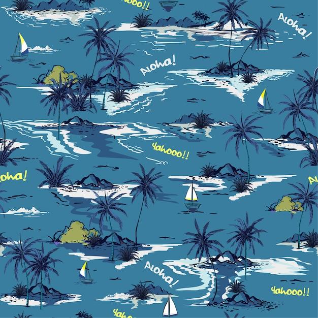 Blauw oceaan naadloos eilandpatroon Premium Vector