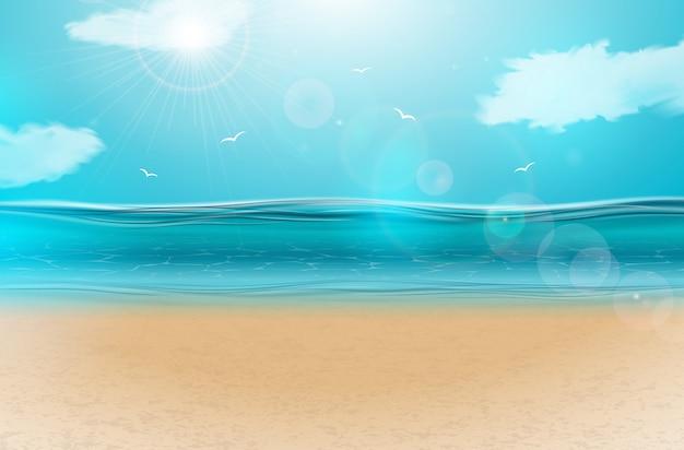 Blauw oceaanlandschap met bewolkte hemel Premium Vector