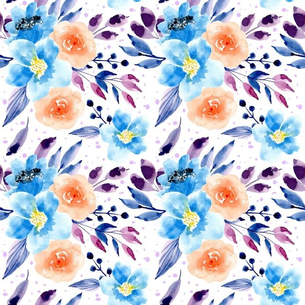 Blauw paars waterverf bloemen naadloos patroon Premium Vector