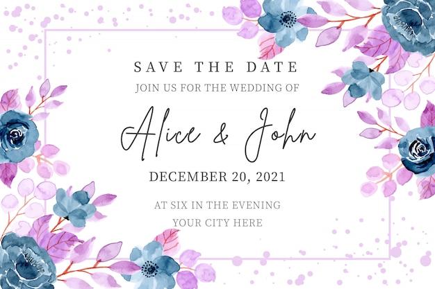 Blauw paarse bruiloft uitnodigingskaart met bloemen aquarel Premium Vector