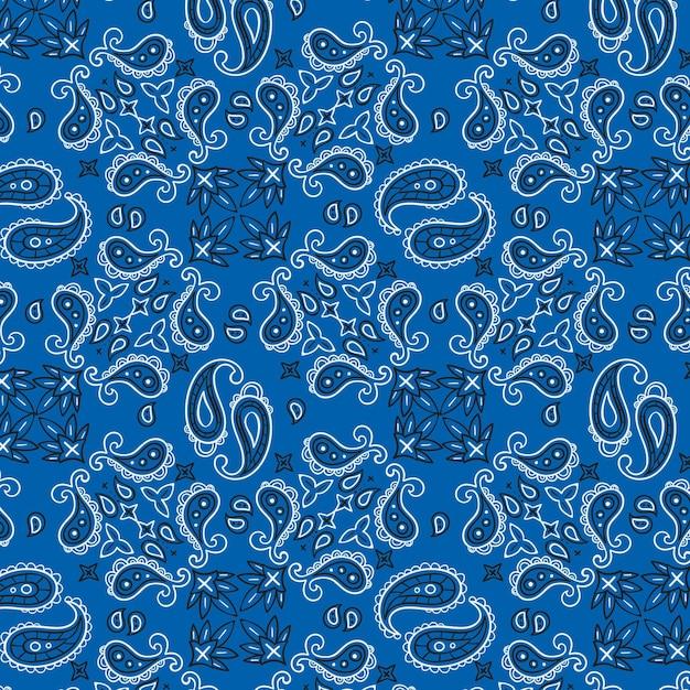 Blauw paisley bandanapatroon Premium Vector