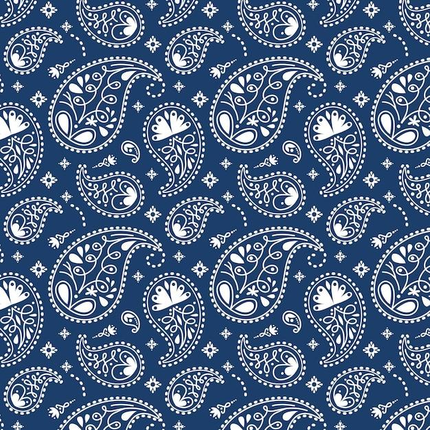 Blauw paisley bandanapatroon Gratis Vector