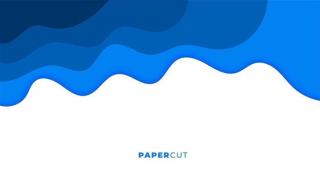 Blauw papercut stijl golvend abstract ontwerp als achtergrond Gratis Vector