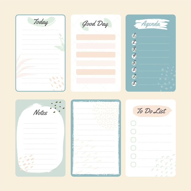 Blauw plakboek en notities Gratis Vector