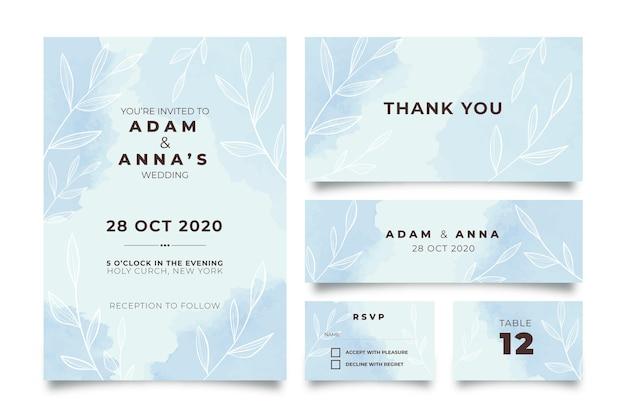 Blauw poeder pastel bruiloft briefpapier Gratis Vector