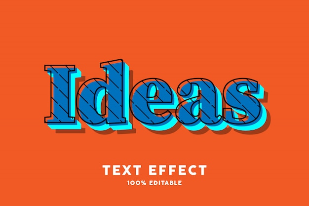 Blauw pop-art op oranje teksteffect Premium Vector