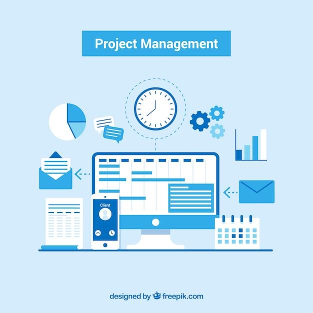 Blauw projectmanagementconcept Gratis Vector